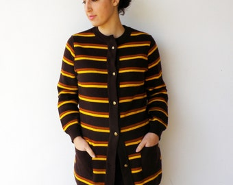 Vintage Cardigan / 1960s Brown and Banana Striped Cradigan / Size M L