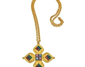 Vintage Napier Galleria Royal Jewel-tone Pendant Necklace