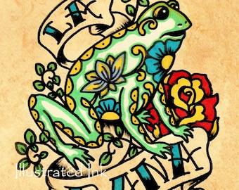 Mexican Folk Art Frog LA RANA Loteria Print 5 x 7, 8 x 10 or 11 x 14
