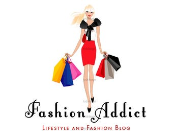FASHION ADDICT personnage illustré Premade Logo design-mode et style de vie Blog - Fashion BLOGGER