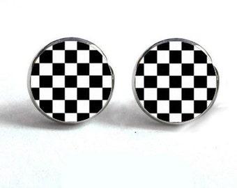 Rockabilly Checkerboard Hyperallergenic Stud Earrings