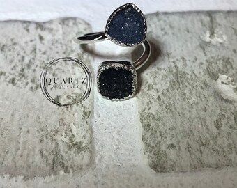 Double Sugar Druzy Size Adjustable Ring