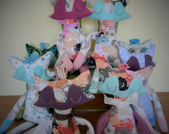TO order / raccoon doll made of recycled fabric