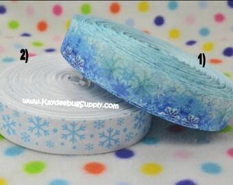 3 yards Snowflakes - 1 inch - Printed Grosgrain Ribbon - CHOOSE DESIGN