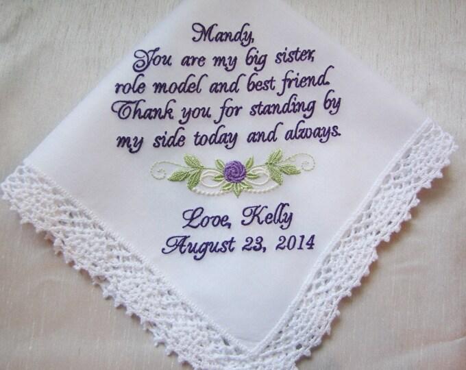 Sister Wedding Handkerchief, embroidered wedding handkerchief, custom personalized bridesmaid gifts