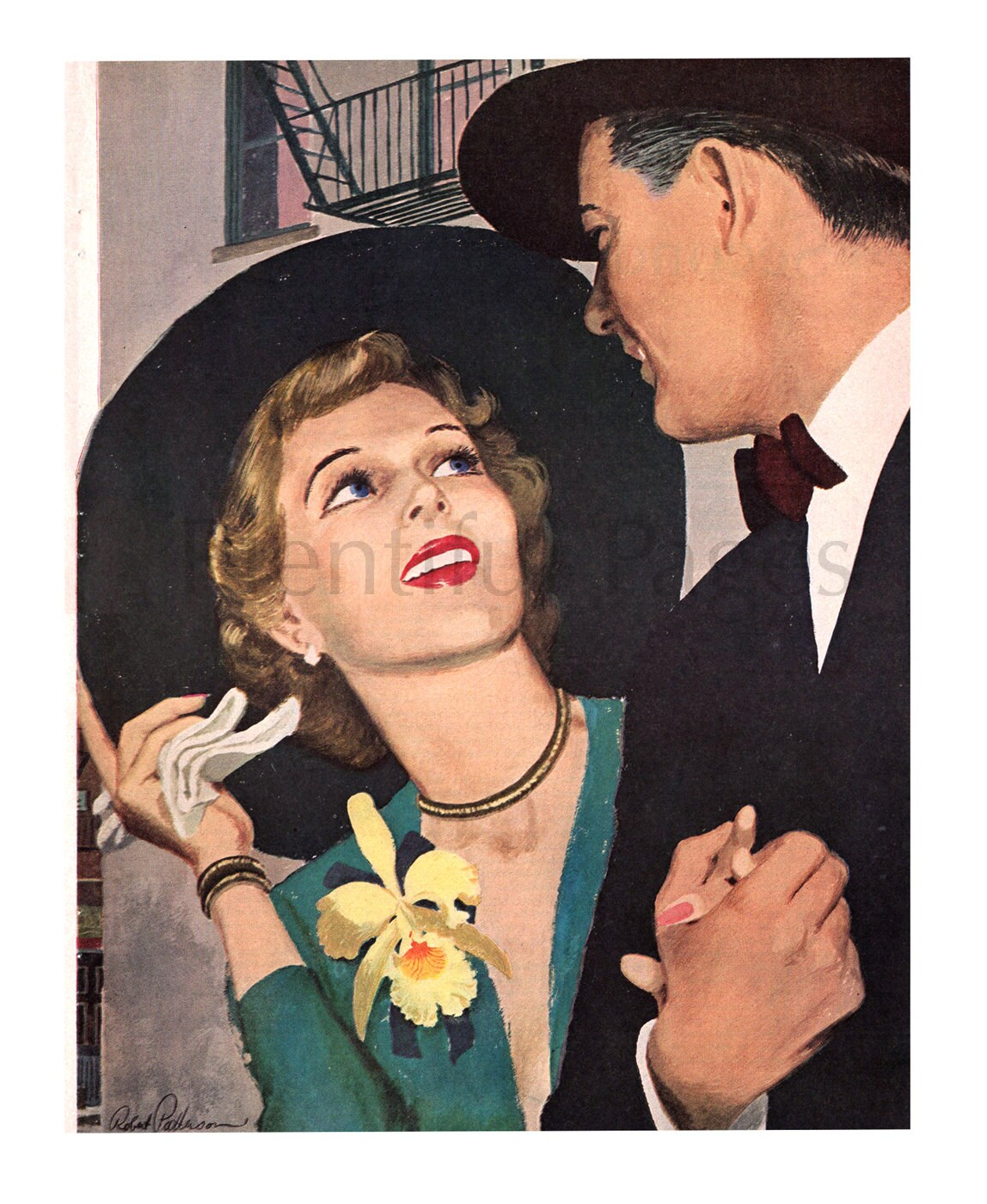 1950 Vintage Magazine Illustration 1950s Couple