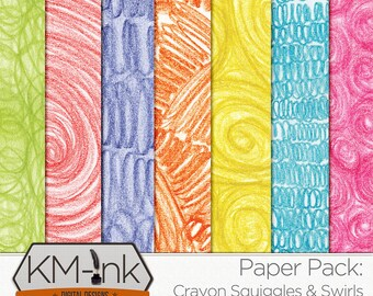 Crayon Scribbles Textured Paper Pack - Digital Textured Paper in red, orange, yellow, green, blue, indigo- Rainbow Crayon Printable Paper