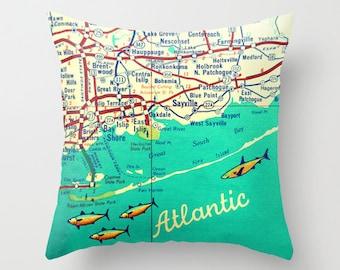 Decorative Pillow Fire Island Map Throw Pillow Cover Fire Island Long Island Map Throw Pillow Housewarming Gift New York Throw Pillow NY map