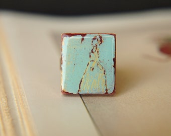 Emma Ring Jane Austen Inspired Hand Painted Adjustable  - Harriet Smith.