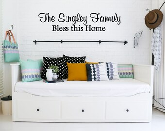 Custom Family Name & Bless this Home Vinyl Decal - Family Name Vinyl Wall Decal, Personalized Vinyl, Home Decor, Bless this Home, 31.9x7