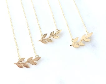 Layered Necklace, Leaf Necklace, Dainty Necklace, Delicate Everyday Jewelry, Simple Necklace, Minimal Necklace, Layering Necklace  AAAZAP
