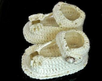 Pattini di Natale della neonata, neonato battesimo Mary Janes, sandali con fiocco di paillettes matrimonio della ragazza, Crochet Booties crema e paillettes oro