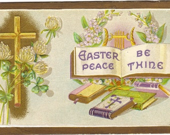 Clover and Cross Bible and Harp Easter Greeting Vintage Postcard