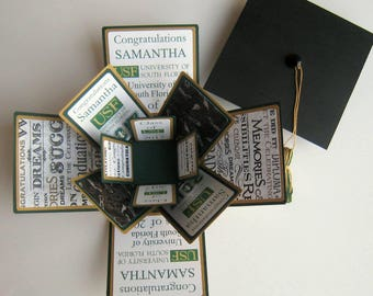 Graduation Card CUSTOM Exploding Box Personalized Made to Order You Choose Colors and Designs