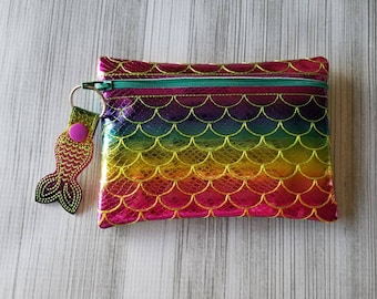 Mermaid Rainbow Ombre Clutch Bag with Mermaid Zipper Pull Keychain
