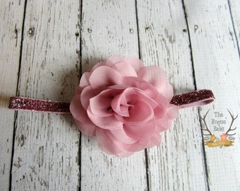 Dusty Rose Pink Glitter Baby Headband - Chiffon Rose Flower - Photo Prop - Newborn Infant Toddler Girls Adult Wedding Baby Headband
