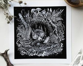 Sleeping Fox - art print