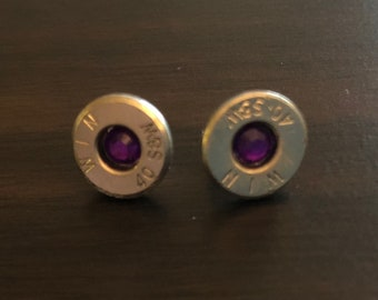 40mm Nickel Plated Brass Smith & Wesson up-cycled bullet earrings
