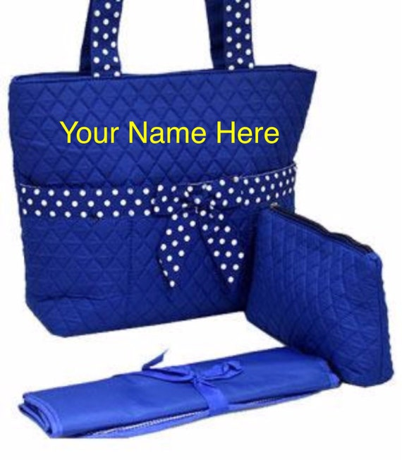 Diaper Bag Royal Blue Quilted with Personalized Embroidery