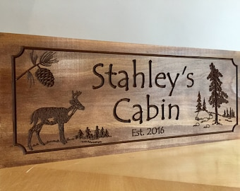 Welcome Sign, Rustic decor, Welcome Signs, Pine Tree, Pine Cone, Deer, wood carved Sign, Pesonalized Cabin Decor, Outdoor Wood Sign
