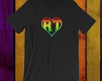 Respiratory Therapist Rainbow RT Heart Unisex T-Shirt for RRT Respiratory Therapy Gift