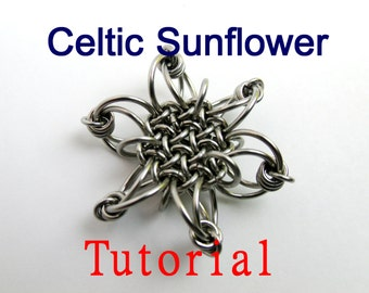Tutorial for Celtic Sunflower Chain Maille Pendant by Brilliant Twisted Skulls