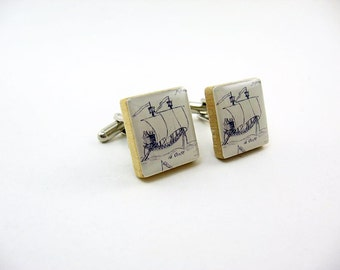 Vintage Ship Cuff Links Cufflinks black and white, resin, vintage scrabble wood tile, nautical, sailing, ocean
