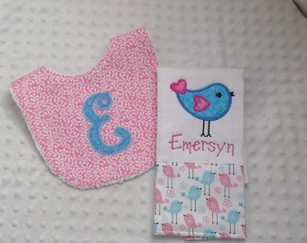Baby Girl Personalized 2 Piece Gift Set  - Bib and Burp Cloth- Adorable Tweety Birds