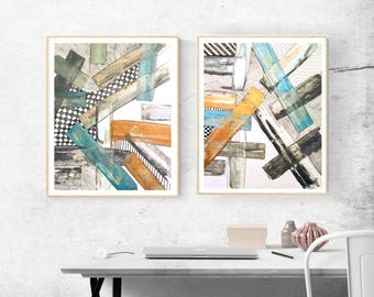 Abstract Painting Set on Canvas Original Canvas Gold Painting Blue Acrylic Metallic Wall Art Gift Set of 2 Large Canvas Wall Paintings