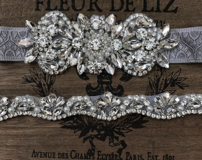 Bridal garter set, Wedding Garter Set NO SLIP grip vintage rhinestones D28-EB19S