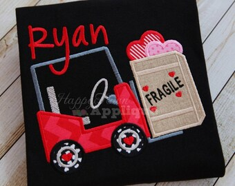 Fork Lift Valentine's Day - Embroidered and Personalized Shirt - Colored Shirts are Extra