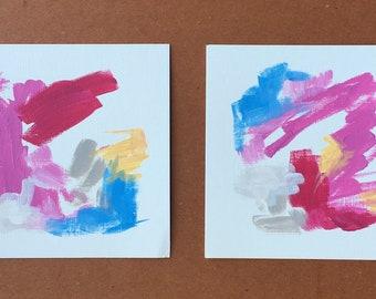 Set of 2 original mini paintings