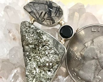 Pyrite Nugget, Black Rutilated Quartz and Black Onyx Pendant Necklace