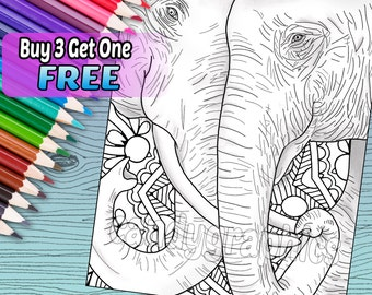 Elephant Love - Adult Coloring Book Page - Printable Instant Download
