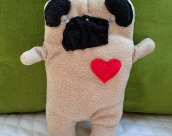Spanky ~ The Blind Pug Bummlie ~ Stuffing Free Dog Toy ~ Ready To Ship Today
