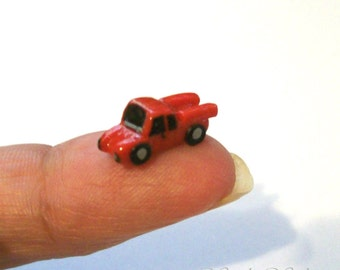Cherry Red Ford Truck, Artisan Dollhouse Miniature, Unique Toy, Boy Truck, Tiny Red Vehicle, 12th Scale, Original Sculpture