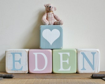 5 Personalised wooden NAME blocks SET OF 5 other amounts available Choice of children's name or message