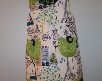 Reversible aline dress,  lime green/navy day in Paris print