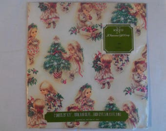Vintage Norcross Christmas Wrapping Paper One Sheet 29 by 21