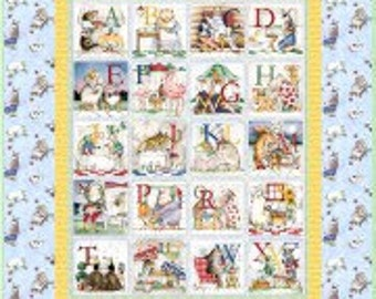 Hungry Animal Alphabet Baby Crib Quilt - Toddler Lap Blanket - Baby Shower Gift