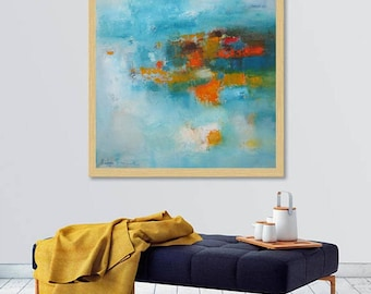 Turquoise Orange modern abstract Art, Modern Loft wall art, contemporary minimalist wall canvas, XL art print, Extra large giclee canvas