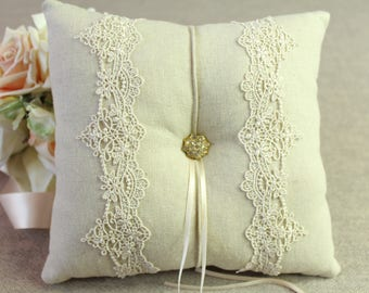 Wedding Ring Pillow, Vintage French Lace with Natural Linen, Ring Bearer Pillow