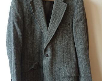 Vintage Gant Speckled Charcoal Herringbone Tweed Jacket Men's 38 R 40