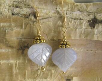 Chalcedony leaf earrings