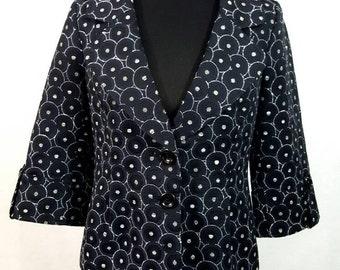Classiques Entier Vintage Blazer, Black blazer, Black and white, Size Small