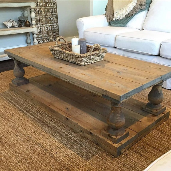 Rustic baluster wide plank coffee table for Coffee tables 30cm wide
