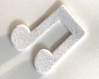 Deco Stickers in glitter foam sticker - white music Note