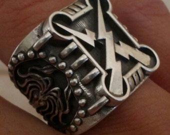 Lightning Kraken Tsunami Ring solid silver