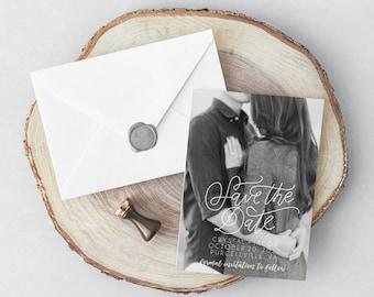 Engagement Photo Save The Date Card, Picture Invitation Print, Custom Printable Wedding Invite, STD Printable Digital Invitation, 5x7