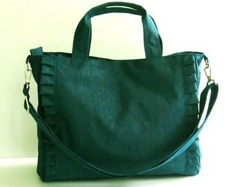 Sale - Dark Teal Nylon Tote, water resistant, purse, ruffles, diaper bag, travel bag - Minnie